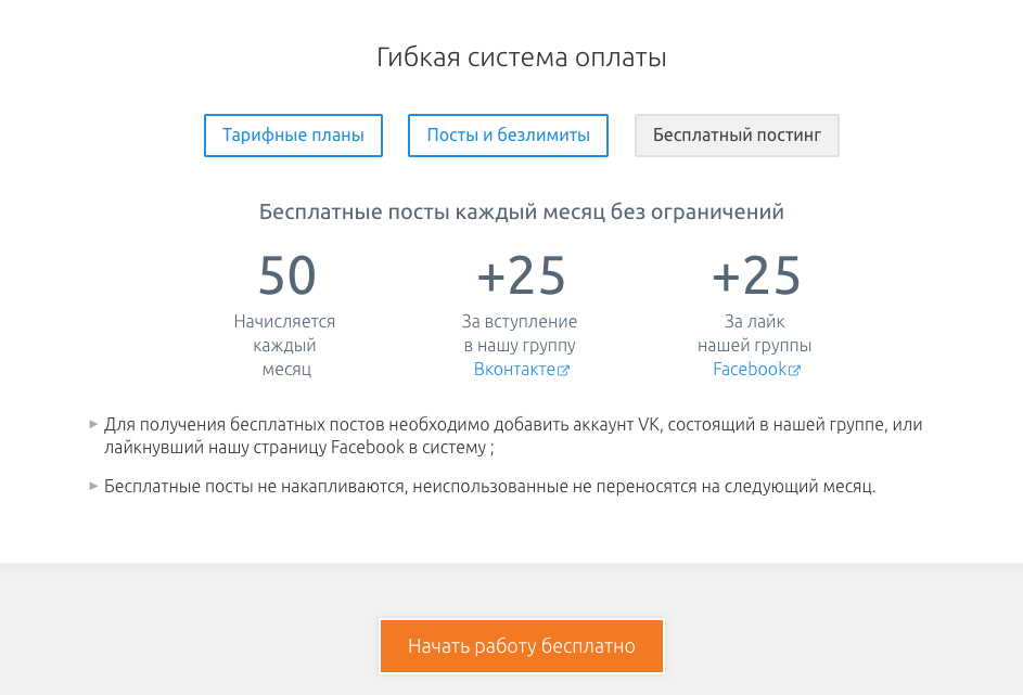 Описание бесплатного постинга в SMMplaner