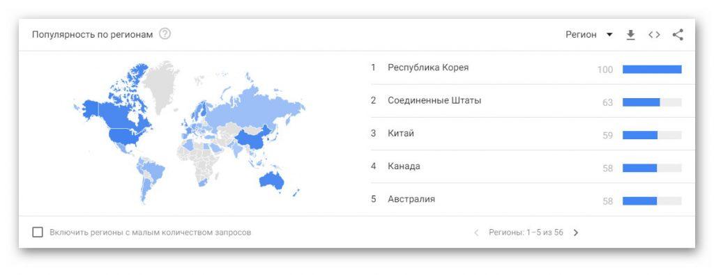 Популярность поискового запроса ASMR по странам