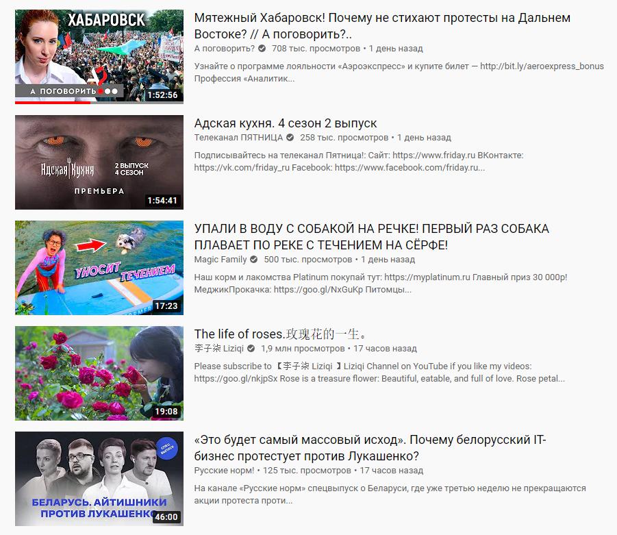 В трендах YouTube попадают самые разные темы